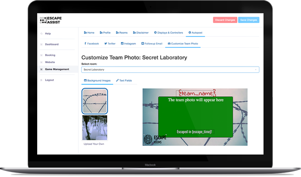 "alt=""laptop showing EscapeAssist's custom team photo editor used to personalize team photos with logo, team name, and escape time"""