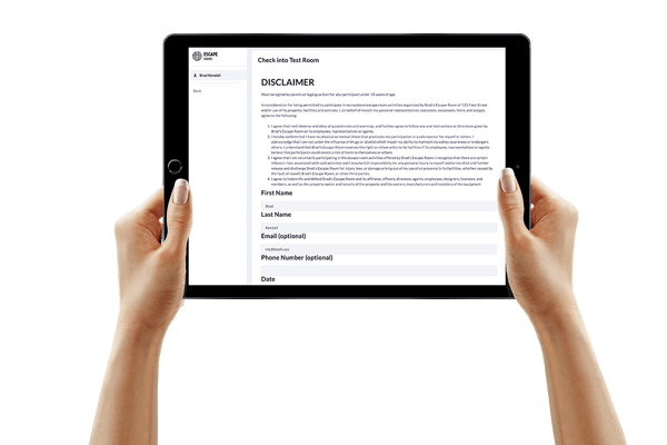 "alt=""hand held tablet showing EscapeAssist's digital waiver system including custom data collection fields and signature block"""