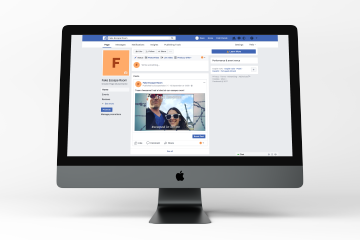 """alt=""""desktop computer showing social media posts automatically posted to Facebook by EscapeAssist's player follow-up tool for escape rooms"""""""